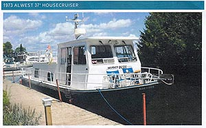 1973 Alwest 37 foot housecruiser houseboat for sale in the Trenton area east of Toronto, Ontario, Canada.